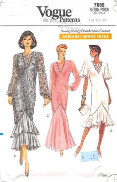 VOGUE 7669 - FROM 1989 - UNCUT - MISSES DRESS