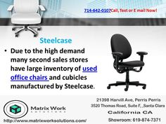 Due to the high demand many second sales stores have large inventory of and manufactured by Used Cubicles, Used Office Chairs, Office Cubicle