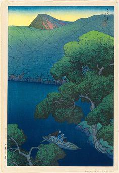 Kawase Hasui (Japanese, Tsuta Marsh in Mutsu Province (Mutsu Tsutanuma), from the series Souvenirs of Travel I (Tabi miyage dai isshû), Museum of Fine Arts, Boston Japanese Art Modern, Japanese Prints, Art Chinois, Art Japonais, Japan Art, Japan Japan, Maurice, Japanese Painting, Museum Of Fine Arts