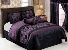 Purple Black Floral Flocking Faux Silk Comforter Set Bed in a bag King Size Teal Comforter, Comforter Sets, Purple Bedding, Bed Canopy With Lights, Bed Ensemble, Gothic Furniture, Bed In A Bag, Living Room Storage, Bedroom Decor