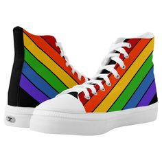 Shop Colorful Rainbow Striped High-Top Sneakers created by wordznart. Rainbow Converse, Rainbow Shoes, Rainbow Colors, On Shoes, Me Too Shoes, Chucks Shoes, Colorful Sneakers, High Top Sneakers, Custom Sneakers