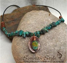 Copper Pendant Necklace with Turquoise by SunStones on Etsy, $38.00