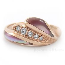 Kabana Pink Mother of Pearl and Diamond Ring in Rose Gold