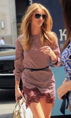 Rosie Huntington-Whiteley wearing Burberry Eyewear and Stella McCartney dress is effortlessly chic