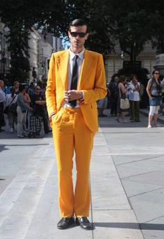 Bright yellow suit set, he does stand out! Follow Sneak Outfitters for more cool street fashion snapshots from New York City. www.sneakoutfitters.com