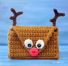 Crochet Reindeer Pouch/ fill with gift card, jewelry, nail polish, money or any other small item of your choice/ FREE CROCHET pattern