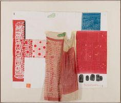 AIRPORT (Switchboard II), 1974 Rilievo e intaglio su tessuto e collage su lino applicati su tela, 96 x 113 cm.