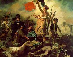 «Η ελευθερία οδηγεί το λαό», πίνακας του Γάλλου ζωγράφου Ευγένιου Ντελακρουά που υμνεί την επανάσταση στη Γαλλία το 1830. Η ελευθερία είναι στο κέντρο και κρατάει τη γαλλική σημαία με τα τρία χρώματα (άσπρο, κόκκινο και μπλε), τη σημαία της  Γαλλικής Επανάστασης.  Δίπλα της τρεις άντρες, που συμβολίζουν τους Γάλλους επαναστάτες. 1831
