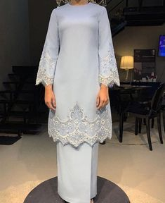 Image may contain: one or more people and people standing Muslimah Wedding Dress, Modest Wedding Gowns, Muslim Wedding Dresses, Cheap Wedding Dress, Bridal Dresses, Long Sleeve Wedding, Wedding Dress Sleeves, Malay Wedding Dress, Rental Wedding Dresses