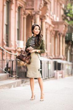 cropped-military-green-jacket-and-khaki-skirt