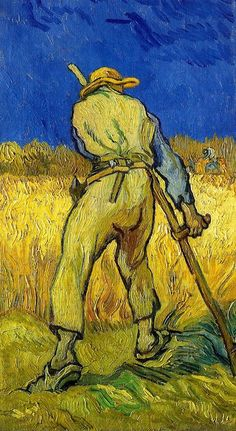 Van Gogh, The Reaper (after Millet), September 1889. Oil on canvas, 43.5 x 25.0 cm. Private collection.