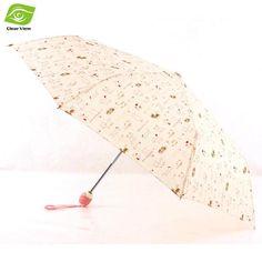 Beige Cat Sun Rain Umbrella Women Automatic Three Folding Anti-UV Umbrellas