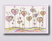 Colorful Hearts Illustration, Nursery Room Decor, Pink Orange Blue Yellow Print, Colored pencil and ink drawing, Home decor
