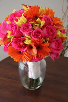 gerbera daisy bouquets | ... Bouquet Flowers KellysFlowers_Gerber Daisy and Rose and Orchid Bridal