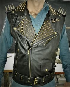 Gold Studded VEST JACKET HANDMADE Men Black Punk Silver Long Spiked Studded sold by Leather Art Shop more products from Leather Art 2020 on Storenvy, the home of independent small businesses all over the world. Spiked Leather Jacket, Studded Jacket, Biker Leather, Black Leather, Leather Jackets, Cowhide Leather, Jacket Style, Vest Jacket, Studs And Spikes