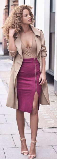 Burgundy And Camel  Chic Style women fashion outfit clothing stylish apparel @roressclothes closet ideas
