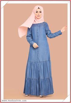 Denim Abaya, Hijab Style Dress, Dress With Cardigan, Abaya Fashion, Denim Outfit, Frocks, Couture, High Neck Dress, Lady