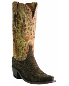 Lucchese Women's Mink Sueded Backout Python/Tan Cheetah Boot