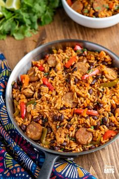 Pot Cuban Style Rice (with Chicken and Sausage) - this delicious one-pot recipe with spicy seasonings, fresh vegetables and black beans is a perfect meal for any night of the week. Gluten Free, Dairy Free, Slimming World and Weight Watchers friendly Batch Cooking, Cooking Recipes, Healthy Recipes, One Pot Rice Meals, Smoked Sausage Recipes, Smoked Sausages, Slimming World Recipes Syn Free, Spanish Rice Recipe, Cuban Dishes