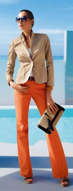 <3 fabulous orange pants and a beige jacket