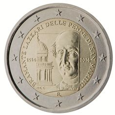 2014 San Marino commemorative €2 coin: 500th anniversary of the death of Bramante Lazzari delle Penne di San Marino.  The coin depicts Bramante's portrait, and part of Tempietto (Italian: 'small temple'), which is a small commemorative tomb built by Donato Bramante, possibly as early as 1502, in the courtyard of San Pietro in Montorio and considered a masterpiece of the High Renaissance Italian architecture.  Mintage: 110,000