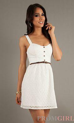 Short Sleeveless Eyelet Dress at PromGirl.com