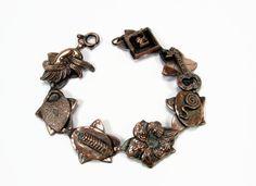 Copper Bracelet Made In Germany Heart Padlock and Key, Vintage Bracelet, 8 Inch…