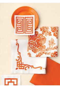 Linens in orange and white patterns - Patterns will be a huge TREND Great color palette