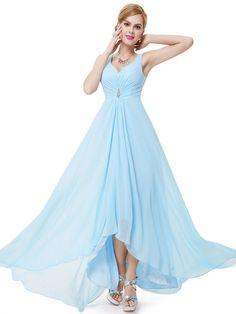 A-line V-neck Chiffon Empire Cheap Beach Bridesmaid Dresses APD3002