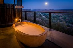 Passion For Luxury : The Outpost Lodge - Zimbabwe, South Africa Kruger National Park, National Parks, South Africa Wildlife, Steam Spa, Game Lodge, Large Baths, Bathroom Photos, Bathroom Ideas, Dream Bath
