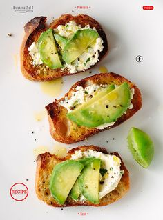 Avocado bruschetta with fromage blanc and lime.