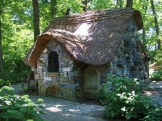 Not a cottage but so fun- Winterthur garden story book play house Stone Cottages, Cabins And Cottages, Stone Houses, Storybook Homes, Storybook Cottage, Petits Cottages, Fairytale Cottage, Cute Cottage, Wooden Playhouse