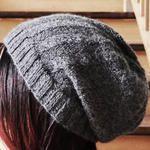 DIY Herringbone Slouch Knit Beanie