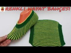 Striped Haraşo Booties Model Knitted with Two Skewers – Narrated Construction … - knitting Baby Knitting Patterns, Lace Knitting, Knitting Stitches, Knitting Socks, Crochet Patterns, Vintage Knitting, Knit Slippers Free Pattern, Knitted Slippers, Bandana Bib Pattern