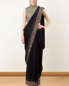 Black and Gold Sequin Border Saree Lehenga Designs, Saree Designs Party Wear, Sari Blouse Designs, Indian Fashion Dresses, Indian Designer Outfits, Pakistani Dresses, Stylish Sarees, Stylish Dresses, Saris