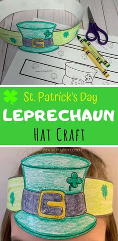 Fun and easy St. Patrick's Day Leprechaun hat crafts for kids. Boys and girls will love coloring this free template image. A perfect St. Paddys picture for children and families to celebrate the green Irish holiday. Holiday Activities, Craft Activities, Preschool Crafts, Toddler Activities, Holiday Crafts, Headband Crafts, Hat Crafts, St Patricks Day Hut, Crafts For Boys
