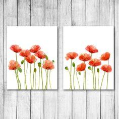 Watercolor Red Poppies Digital Art Print Set by 1thirteen on Etsy