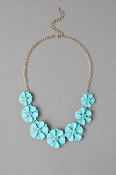 Newquay Floral Necklace with matte mint flowers and petite rhinestone centers