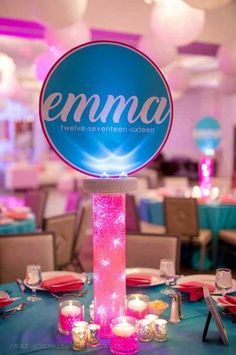 Aqua gems resemble glass marbles and are beautiful additions to any centerpiece. We use different size vases and cylinders filled with aqua gems and LED lights and sit them on a mirror with crystal votive candles and crystal chips. Bat Mitzvah Themes, Bat Mitzvah Party, Bar Mitzvah, Led Centerpieces, Bat Mitzvah Centerpieces, Centerpiece Ideas, Quinceanera Decorations, Balloon Decorations, Sweet Sixteen