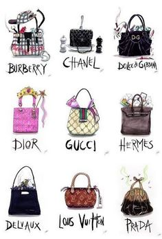 bag, burberry, chanel, delvaux, dior, dolce & gabbana, draw, drawing, fashion, gucci, hermes, louis voitton, prada