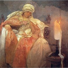 Alphonse Mucha - Woman With a Burning Candle 1933 | Flickr - Photo Sharing!