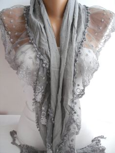 Gray Shawl Scarf Cotton Shawl Scarf  Cowl headband with Lace Edge- so pretty, will find a way to make this as a shirt