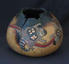 "*Gourd Art - ""Horned Lizards"" by Nor Graf"