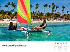 VIAJES EN PAREJA. Aprovecha para sentir la tranquilidad y relajación de las playas del Caribe, dando un recorrido en catamarán con tu pareja. Una gran oportunidad para contemplar la belleza de sus paisajes y conectarse con la naturaleza de manera amigable. En Booking Hello te invitamos a visitar nuestro sitio web, donde podrás elegir el pack de tu preferencia para comenzar a planear tus vacaciones. #viajesenpareja