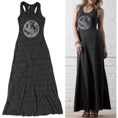 Womens Maxi Dress Moon Maxi Dress Womens Clothing Long Black Dress... ($88) ❤ liked on Polyvore featuring black, dresses and women's clothing