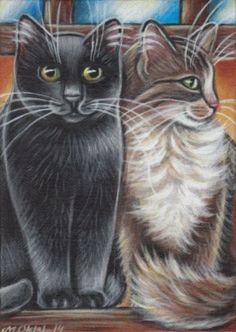 Black & Longhair Tabby Cats Painting