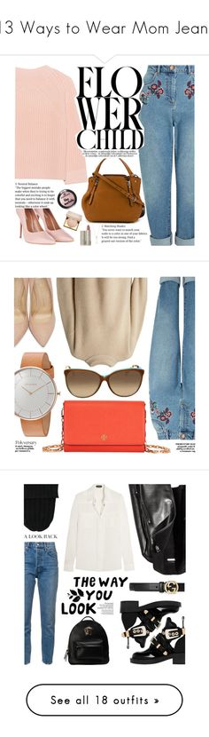 """13 Ways to Wear Mom Jeans"" by polyvore-editorial ❤ liked on Polyvore featuring momjeans, waystowear, iHeart, Miss Selfridge, Topshop, Burberry, EF Collection, Stila, Ilia and The Row"
