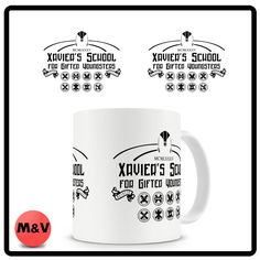 X men mug, Xaviers, school, marvel, wolverine, storm, comic