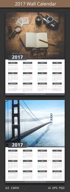 2017 One Page Calendar Template | Ai Illustrator, Graphic Design