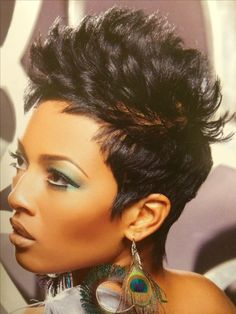 Haven't had a relaxer in 6 years, but if I had one, this is what I'd want my hair to look like Short Sassy Hair, Short Hair Cuts, Short Hair Styles, Short Pixie, Pixie Cut, Funky Hairstyles, Pretty Hairstyles, Hair Affair, Relaxed Hair